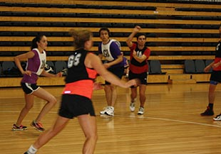 People playing netball